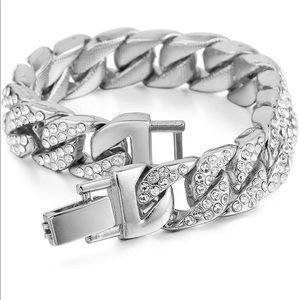 Cuban Link Bracelet Stainless Steel Iced Out NEW